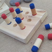 Handmade wooden noughts and crosses, tic tac toe style game with storage bag