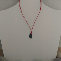Sea Slate Beachcombed necklace with red cord