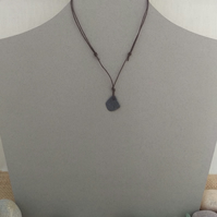Beachcombed Necklace, Sea Slate and Cotton Cord