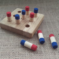 Wooden Noughts and Crosses Game, Tic Tac Toe Game in Cotton Bag