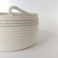 Colwell Coiled Rope Storage Bowl with green detail