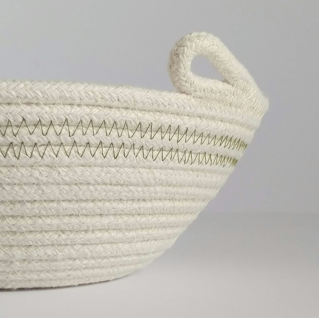 Jumbo Freshwater Bowl, a coiled rope bowl with green stitched detail