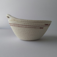 Large Freshwater Bowl, a coiled rope bowl with red brown stitched detail