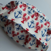 Fabric Face Covering - Lobsters and Anchors