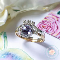 Alexandrite & Diamond Rose Gold Bridal ring set, Alexandrite Moissanite set