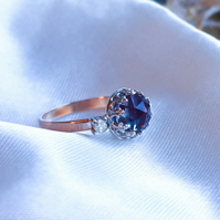 Alexandrite & White Sapphires 9ct Rose Gold ring, Alexandrite Crown ring