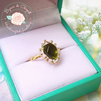 Peridot nugget 14ct Yellow Gold ring, Peridot Gold ring, Natural Peridot ring,