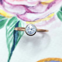 White Sapphire 9ct Rose Gold ring, Sapphire Rose gold and Sterling silver ring