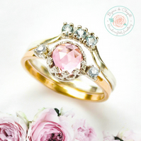 Morganite & Moissanites Diamond 9ct Yellow Gold ring set, Morganite Bridal set