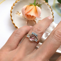 Morganite & Moissanites Diamond 9ct Rose Gold ring set, Morganite Bridal set