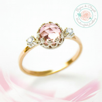 Morganite & White Sapphires 9ct Yellow gold ring, Peach Pink Morganite Gold ring