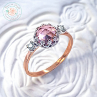 Morganite & White Sapphires 9ct Rose gold ring, Peach Pink Morganite Gold ring