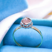Pink Morganite 9ct Yellow Gold ring,Morganite Crown Yellow Gold Engagement ring,