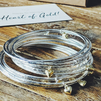 Heart of Gold Sterling Silver bangle