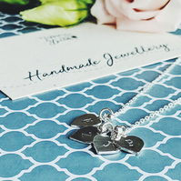 Personalised Hand Stamped Sterling Silver Heart Necklace