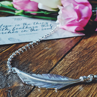 Handmade Sterling Silver Floating Feather Necklace
