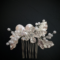 Botanical Bridal Hair Comb Silver Leaf Wedding Headpiece