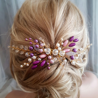 Purple Wedding Hair Comb Pearl Bridal Hair Comb