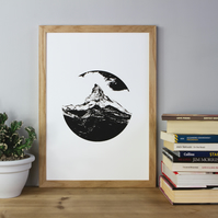 Mountain Crest Print, Black on White Print, Mountains, Mountain Print, Poster