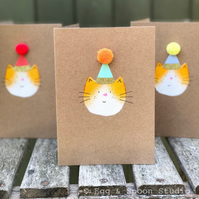 Cats in Party Hats Blank Greetings Cards