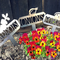 Steel Garden Vegetable Signs Set of 3