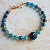 Blue Gemstone Wire Wrapped Bangle.