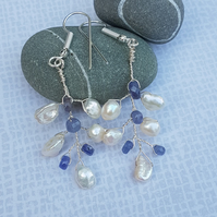 Tanzanite And Pearl Tiara Twist Earrings