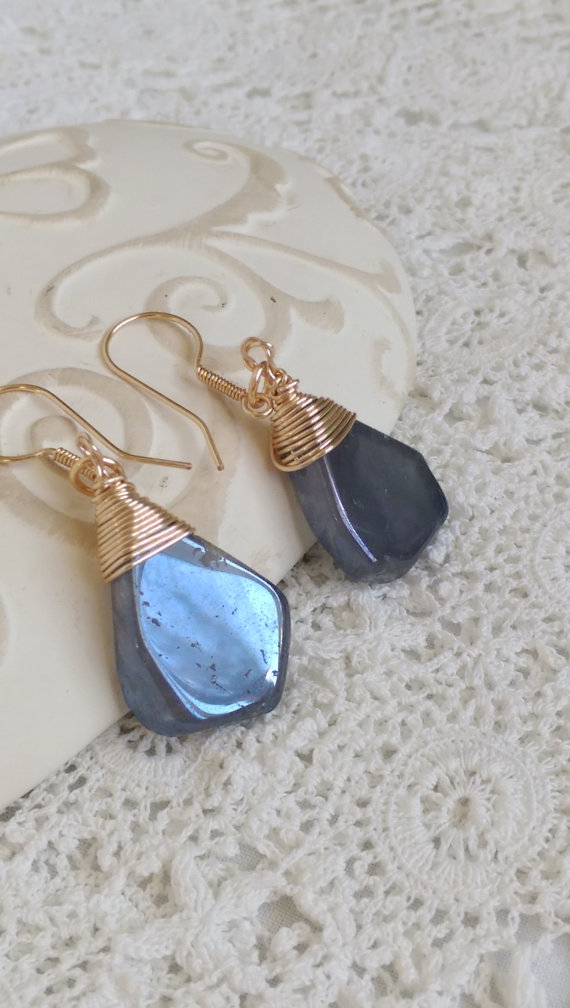 Mystic Coated Quartz Briolette Wrapped Earrings, Handcrafted Gemstone Earrings