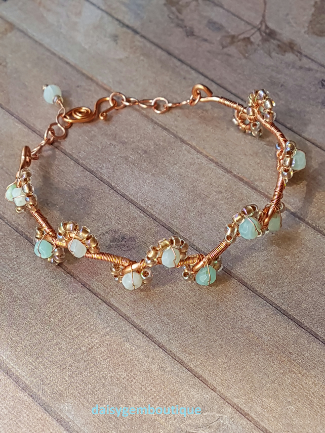Wire Wrapped Copper Bangle, Natural Blue Opal, October Birthstone Jewellery.