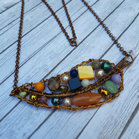 Antique Bronze Leaf Pendant, Wire Wrapped Pendant, Genuine Gemstone Necklace.
