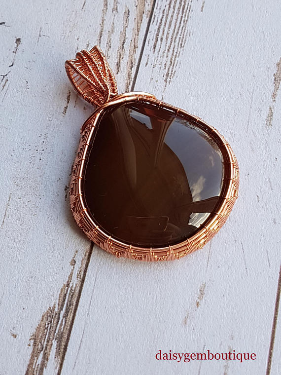 Wire Wrapped Onyx Pendant, Bronze Wire Wrapped Jewellery, Genuine Gemstone.