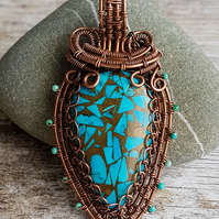 Turquoise Wrapped Pendant, Bare Copper Necklace, December's Birthstone.