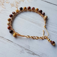 Mookaite Beaded Bangle, Wire Wrapped Bangle, Genuine Gemstone Jewellery