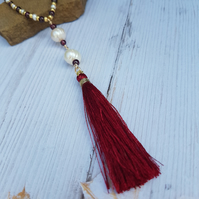Garnet And Pearl Necklace, Long 30 inch Necklace, Tassel Necklace, Birthstones.