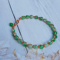 Green Quartz Wire Wrapped Bracelet, Copper Wire Wrapped Bangle, Gift For Her.