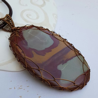 Mookaite Pendant, Large statement Pendant, Natural Mookaite, Wire Wrapped Caboch