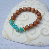 Rosewood And Natural Amazonite stretchy bracelet, Throat And Heart Chakra Stone.