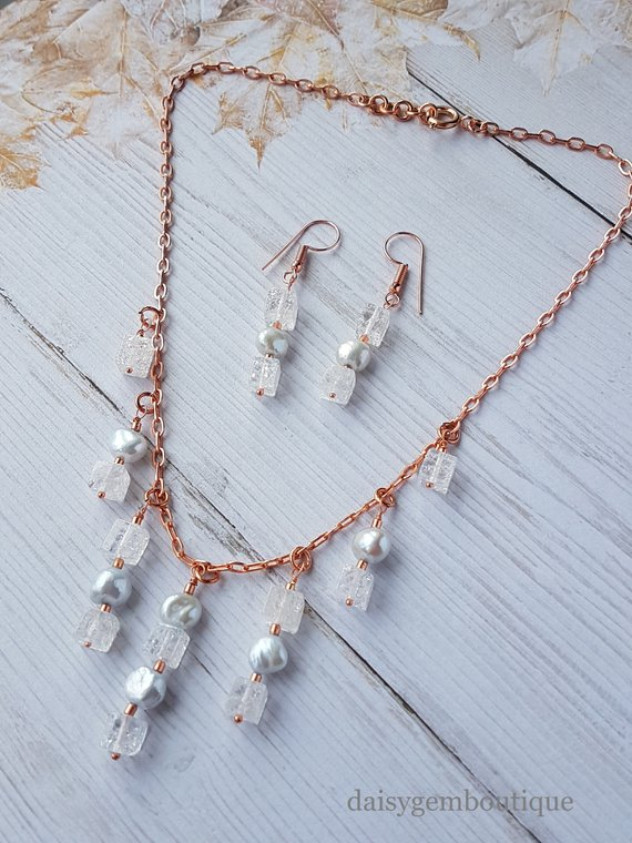 Cultured Pearl & Crackled Quartz Set, Earrings & Necklace Set, Rose Gold Plated