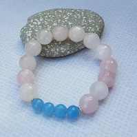 Rose Quartz Classic Stretchy Bracelet, Genuine Rose Quartz, Blue Quartz.