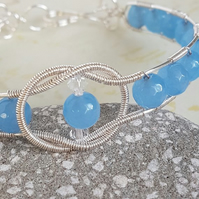 Wire Wrapped Bangle, Baby blue Quartz Bangle, Genuine Gemstone Jewellery
