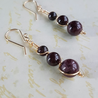 Garnet Earrings, Wire Wrapped Earrings, January Birthstone, Dangle & Drop.