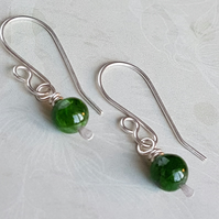 Sterling Silver Chrome Diopside Earrings, Natural Gemstone, 925 Sterling Silver.