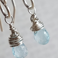 Sky Blue Topaz Earrings, Sterling Silver Earrings, November Birthstone.