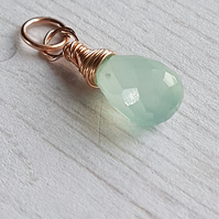 Chalcedony Pendant, Wire Wrapped pendant, Gemstone Charm, Rose Gold Filled.