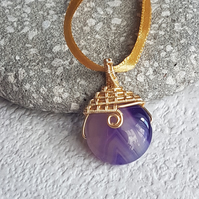 Purple Agate Gemstone Pendant, Simple Wire Wrapped Pendant