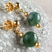 Fancy Jasper Drop Earrings, Green Moss Jasper Earrings, Gold Plated Silver.
