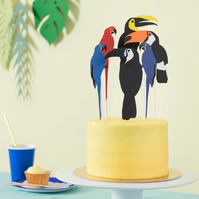 Toucan and Parrot Tropical Cake Topper - Birthday cake topper for bird lover