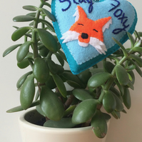 Handmade felt Stay Foxy heart hanging decoration