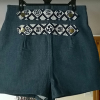Ladies high waist denim shorts, with and japanese fabric detail UK size 14