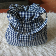 Handmade Blue & White Gingham Patterned Elasticated Padded Bag